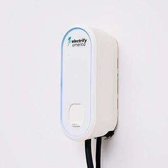 Close-up of the Electrify America Level 2 electric vehicle home charger docking station.