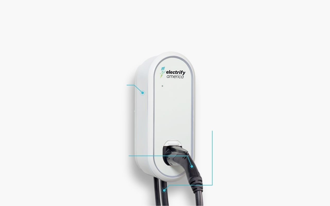 Electrify America's home charger plugged into an electric car.
